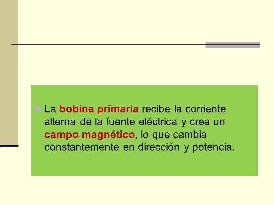 La bobina primaria recibe la corriente alterna de la fuente eléctrica y crea un campo magnético, lo que cambia constantemente en dirección y potencia.
