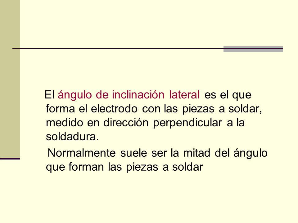 El ángulo de inclinación lateral es el que forma el electrodo con las piezas a soldar, medido en dirección perpendicular a la soldadura.