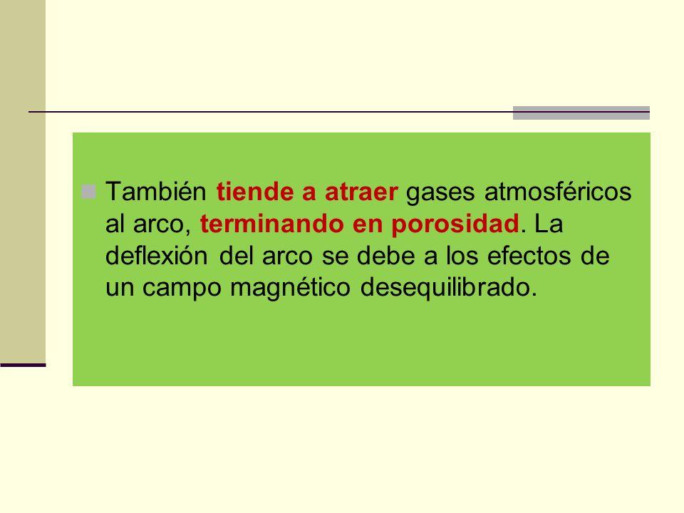 También tiende a atraer gases atmosféricos al arco, terminando en porosidad.