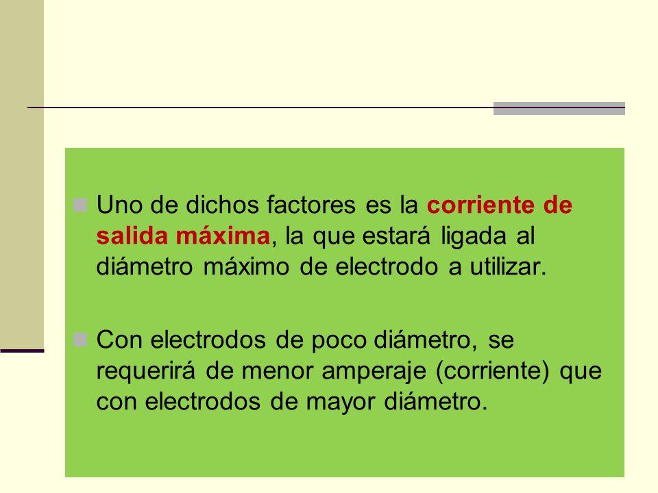 Uno de dichos factores es la corriente de salida máxima, la que estará ligada al diámetro máximo de electrodo a utilizar.