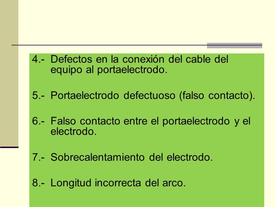 4.- Defectos en la conexión del cable del equipo al portaelectrodo.