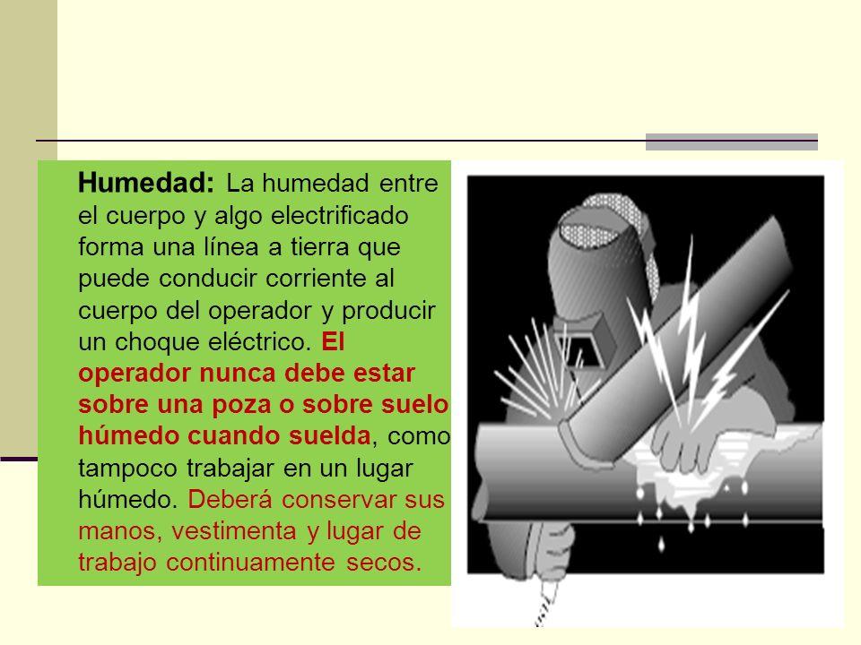 Humedad: La humedad entre el cuerpo y algo electrificado forma una línea a tierra que puede conducir corriente al cuerpo del operador y producir un choque eléctrico.