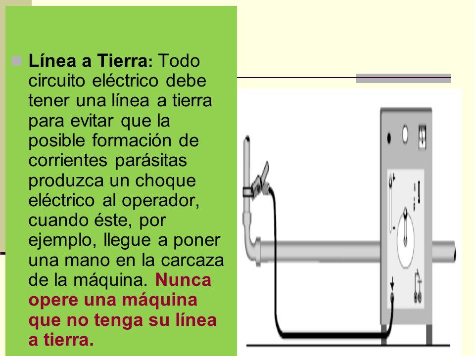 Línea a Tierra: Todo circuito eléctrico debe tener una línea a tierra para evitar que la posible formación de corrientes parásitas produzca un choque eléctrico al operador, cuando éste, por ejemplo, llegue a poner una mano en la carcaza de la máquina.