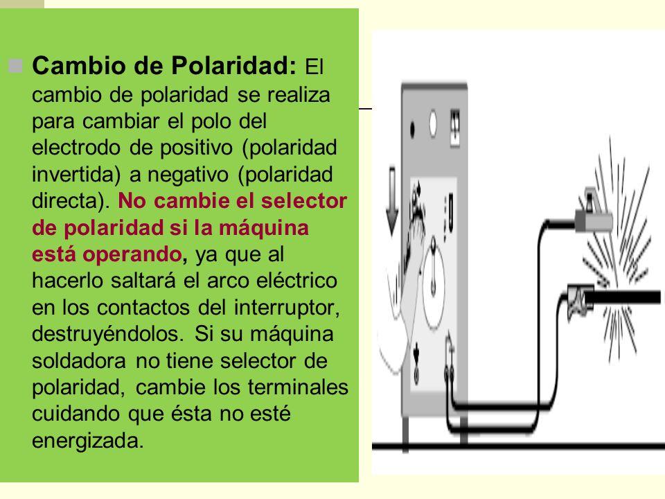 Cambio de Polaridad: El cambio de polaridad se realiza para cambiar el polo del electrodo de positivo (polaridad invertida) a negativo (polaridad directa).