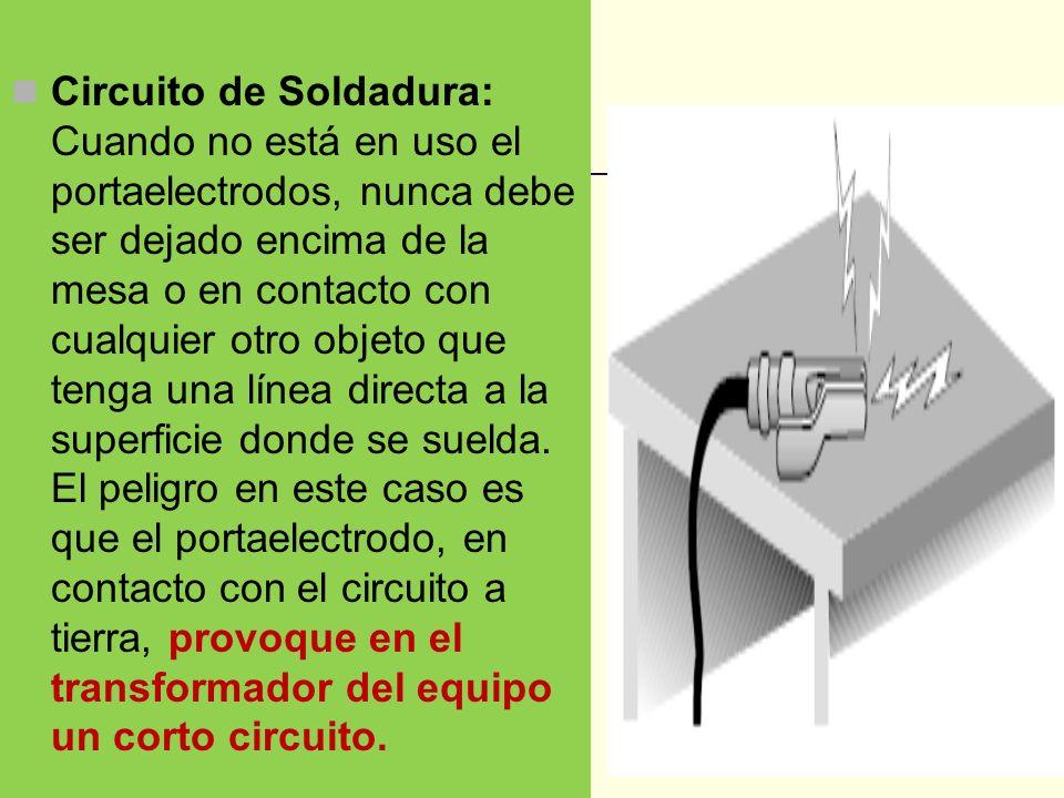 Circuito de Soldadura: Cuando no está en uso el portaelectrodos, nunca debe ser dejado encima de la mesa o en contacto con cualquier otro objeto que tenga una línea directa a la superficie donde se suelda.