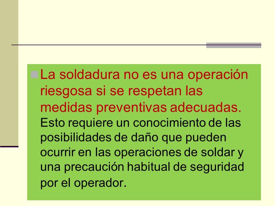 La soldadura no es una operación riesgosa si se respetan las medidas preventivas adecuadas.