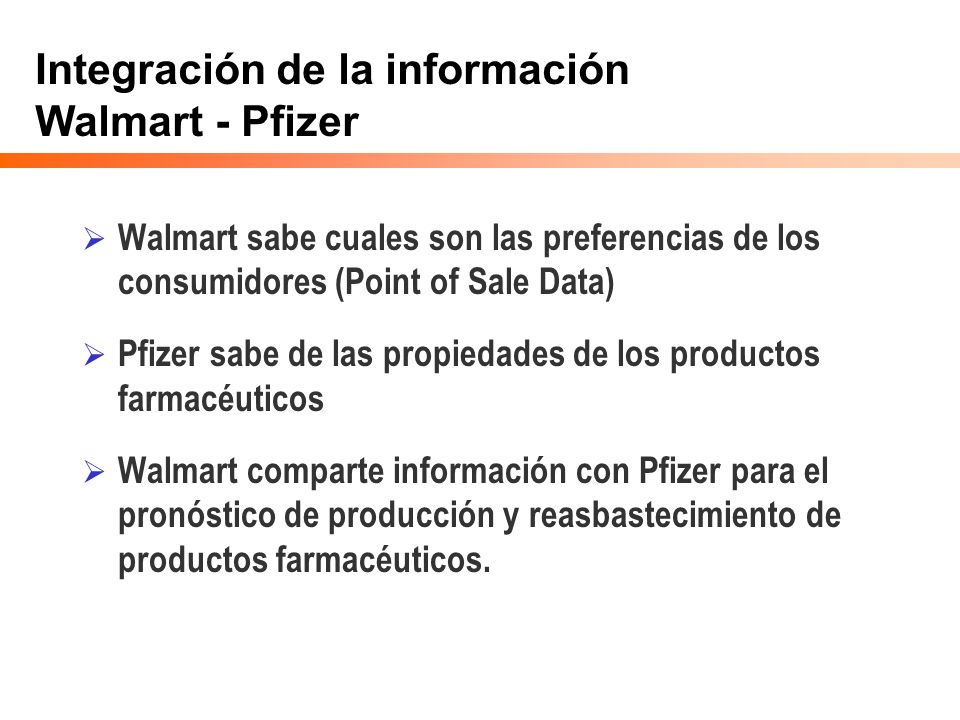 Integración de la información Walmart - Pfizer