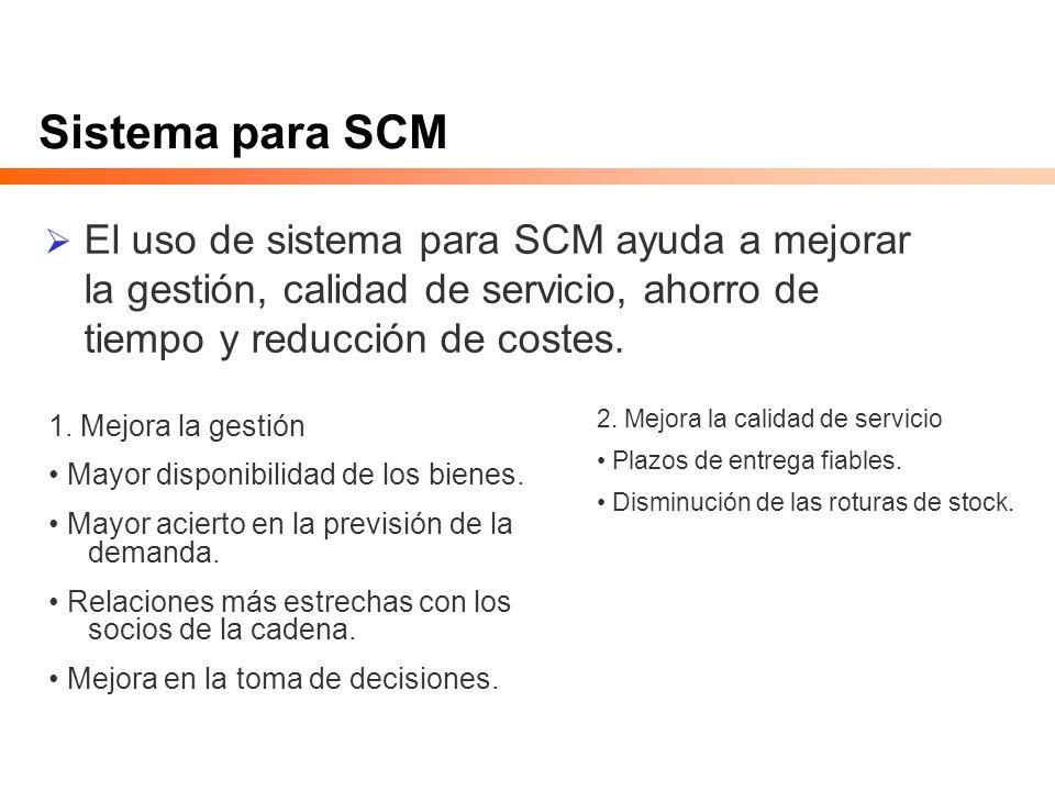 Sistema para SCM El uso de sistema para SCM ayuda a mejorar la gestión, calidad de servicio, ahorro de tiempo y reducción de costes.