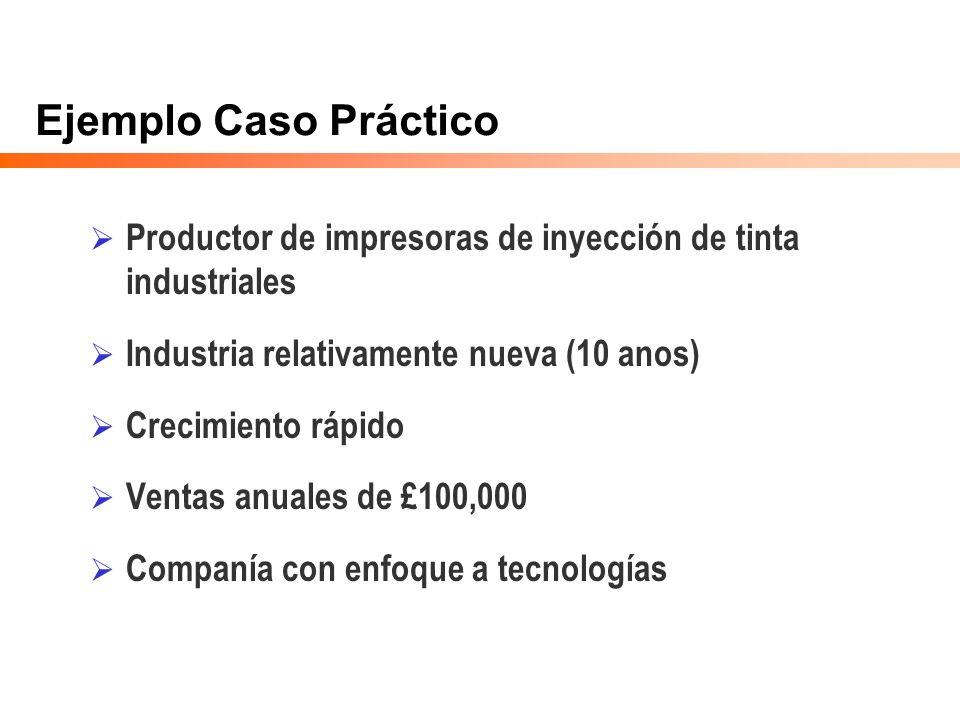 Ejemplo Caso Práctico Productor de impresoras de inyección de tinta industriales. Industria relativamente nueva (10 anos)