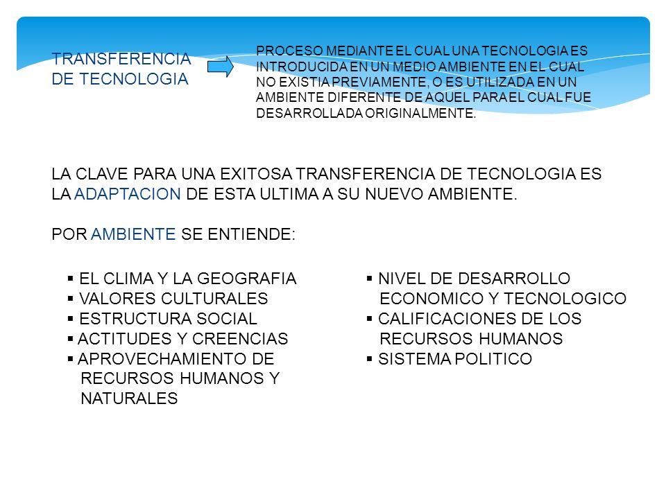 LA CLAVE PARA UNA EXITOSA TRANSFERENCIA DE TECNOLOGIA ES