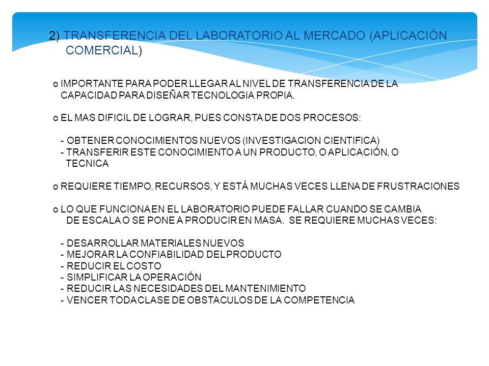 2) TRANSFERENCIA DEL LABORATORIO AL MERCADO (APLICACIÓN COMERCIAL)