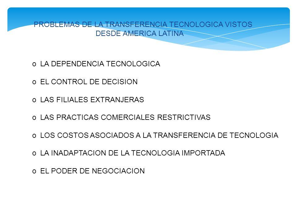 PROBLEMAS DE LA TRANSFERENCIA TECNOLOGICA VISTOS