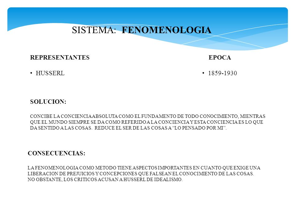 SISTEMA: FENOMENOLOGIA