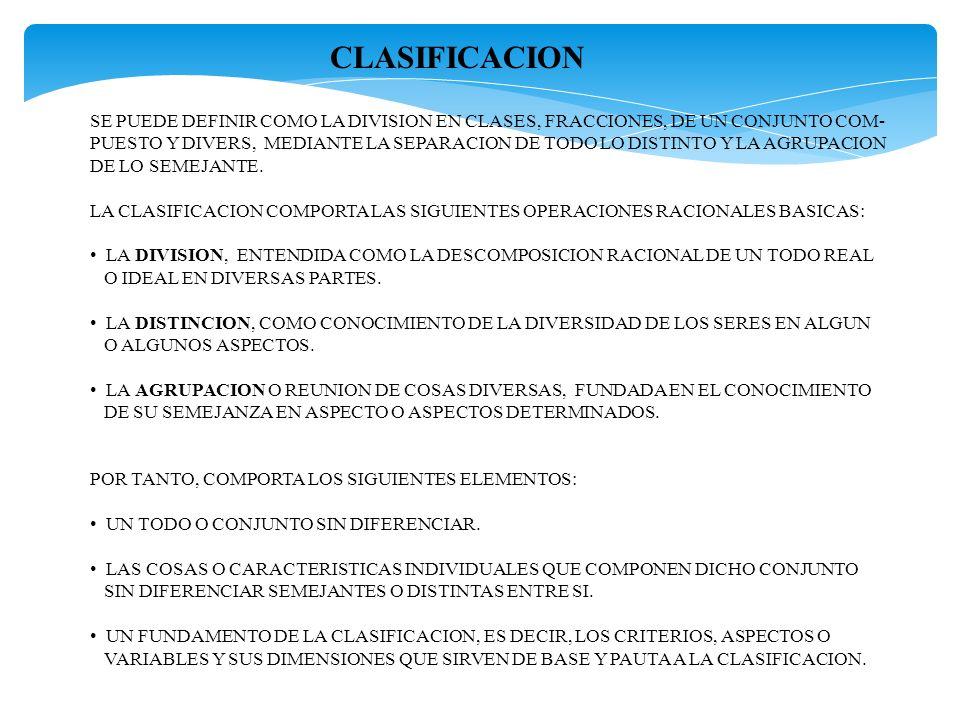 CLASIFICACION SE PUEDE DEFINIR COMO LA DIVISION EN CLASES, FRACCIONES, DE UN CONJUNTO COM-