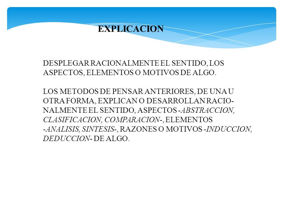 EXPLICACION DESPLEGAR RACIONALMENTE EL SENTIDO, LOS
