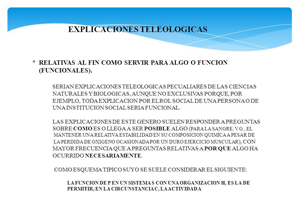 EXPLICACIONES TELEOLOGICAS