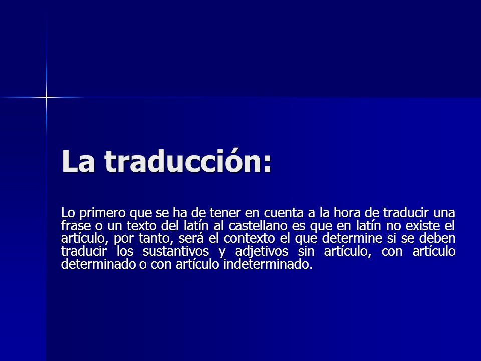 La traducción: