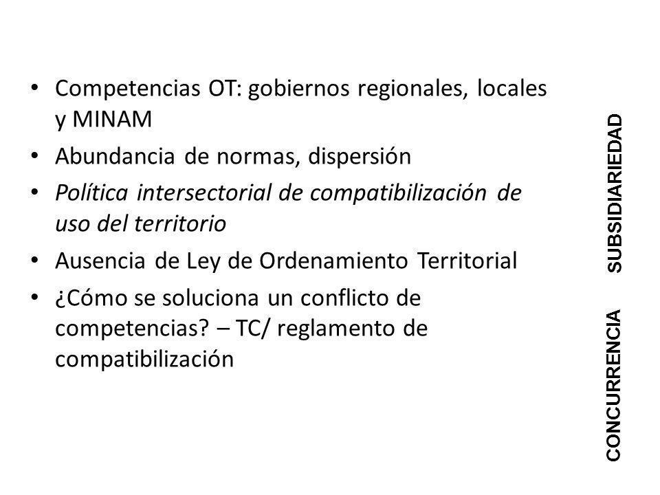 Competencias OT: gobiernos regionales, locales y MINAM