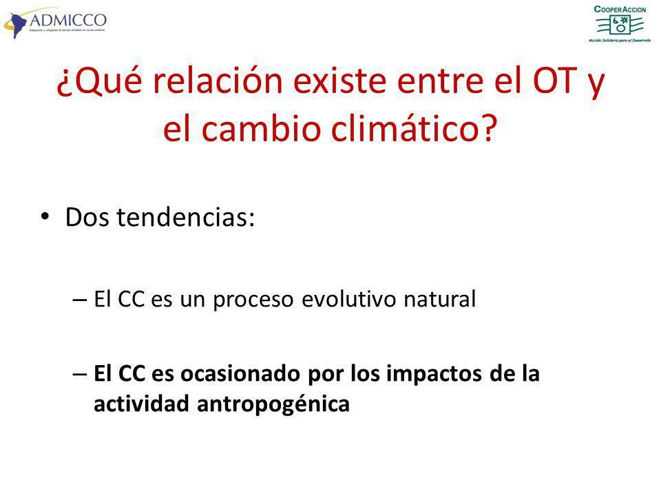 ¿Qué relación existe entre el OT y el cambio climático