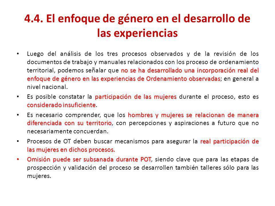 4.4. El enfoque de género en el desarrollo de las experiencias