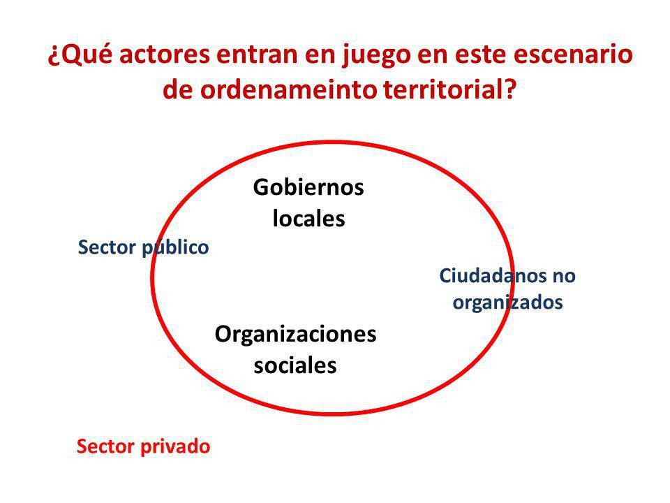 Ciudadanos no organizados Organizaciones sociales