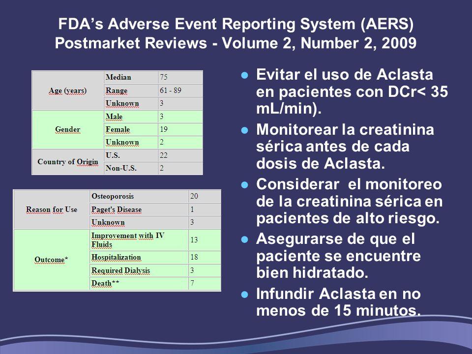 Evitar el uso de Aclasta en pacientes con DCr< 35 mL/min).