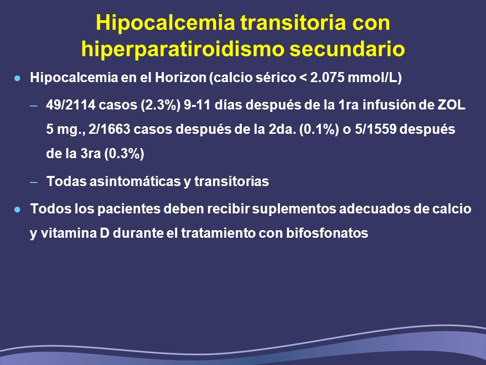Hipocalcemia transitoria con hiperparatiroidismo secundario