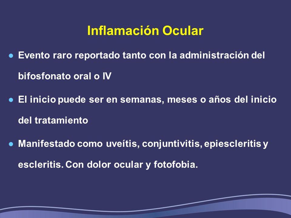 Inflamación Ocular Evento raro reportado tanto con la administración del bifosfonato oral o IV.