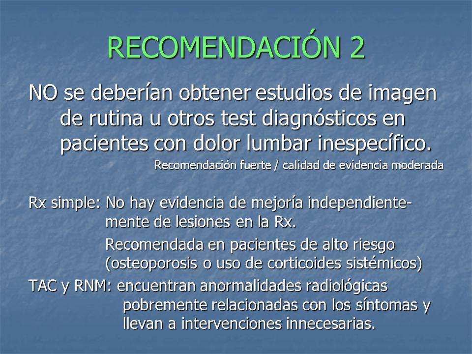 RECOMENDACIÓN 2 NO se deberían obtener estudios de imagen de rutina u otros test diagnósticos en pacientes con dolor lumbar inespecífico.