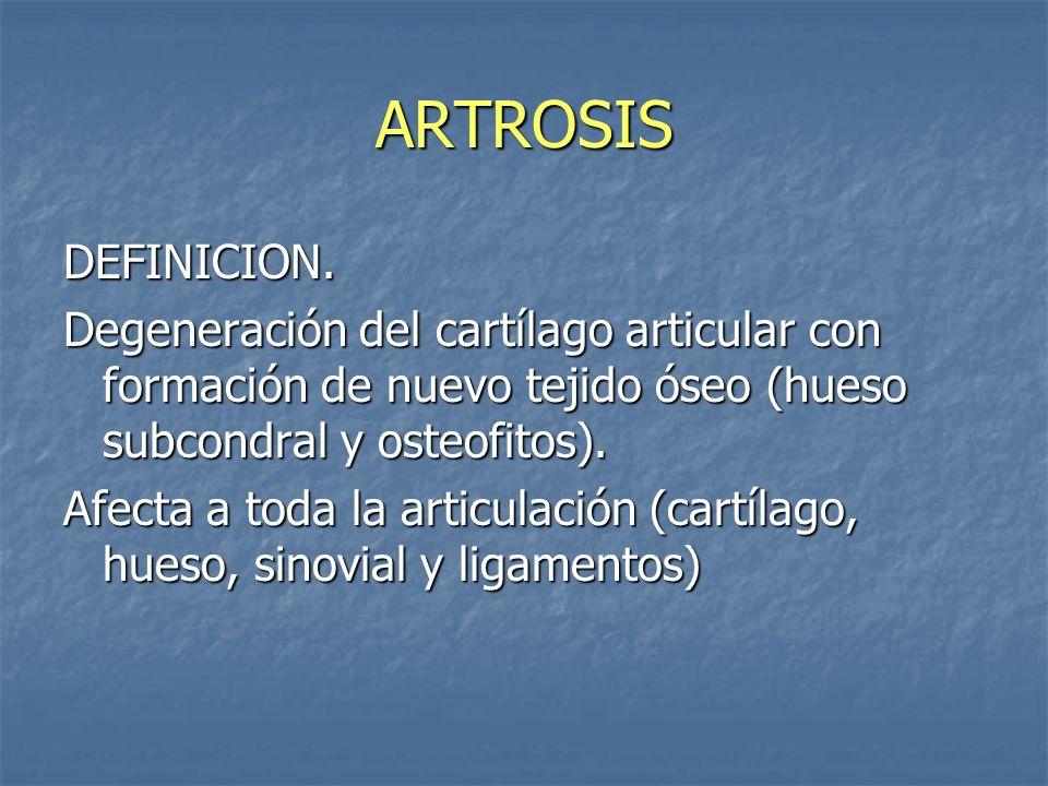 ARTROSIS DEFINICION. Degeneración del cartílago articular con formación de nuevo tejido óseo (hueso subcondral y osteofitos).
