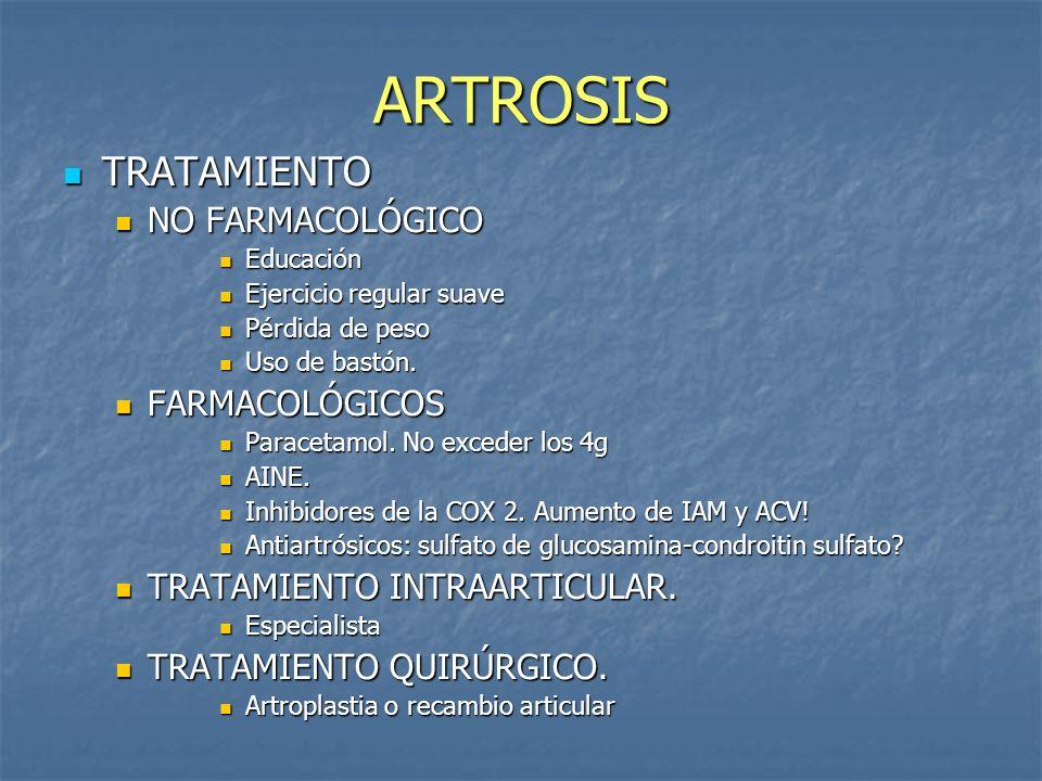 ARTROSIS TRATAMIENTO NO FARMACOLÓGICO FARMACOLÓGICOS