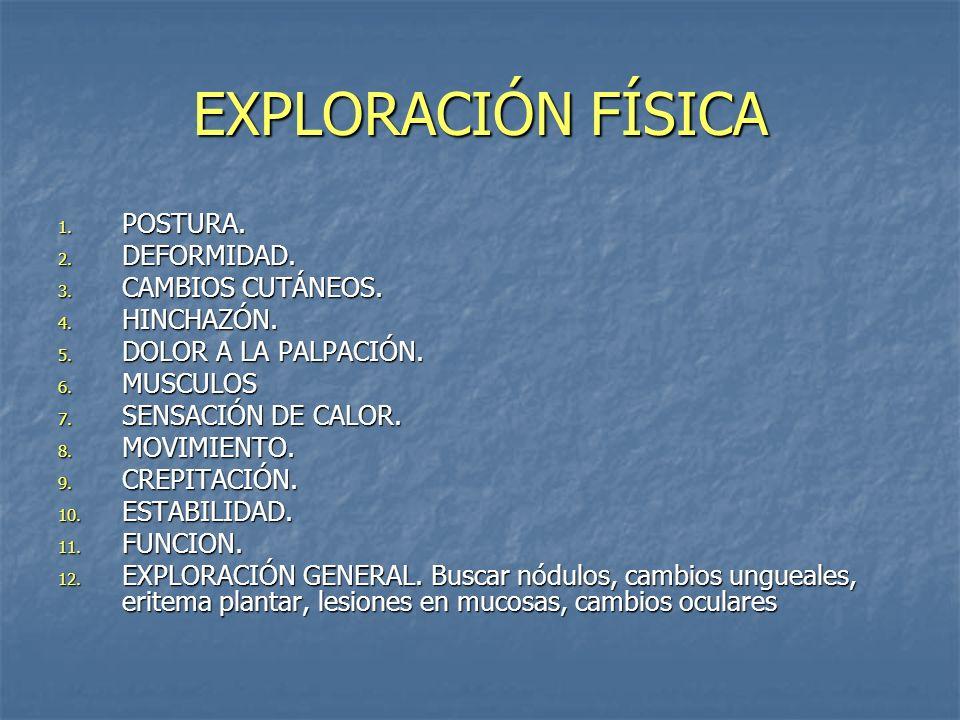 EXPLORACIÓN FÍSICA POSTURA. DEFORMIDAD. CAMBIOS CUTÁNEOS. HINCHAZÓN.