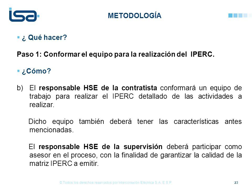 Paso 1: Conformar el equipo para la realización del IPERC. ¿Cómo