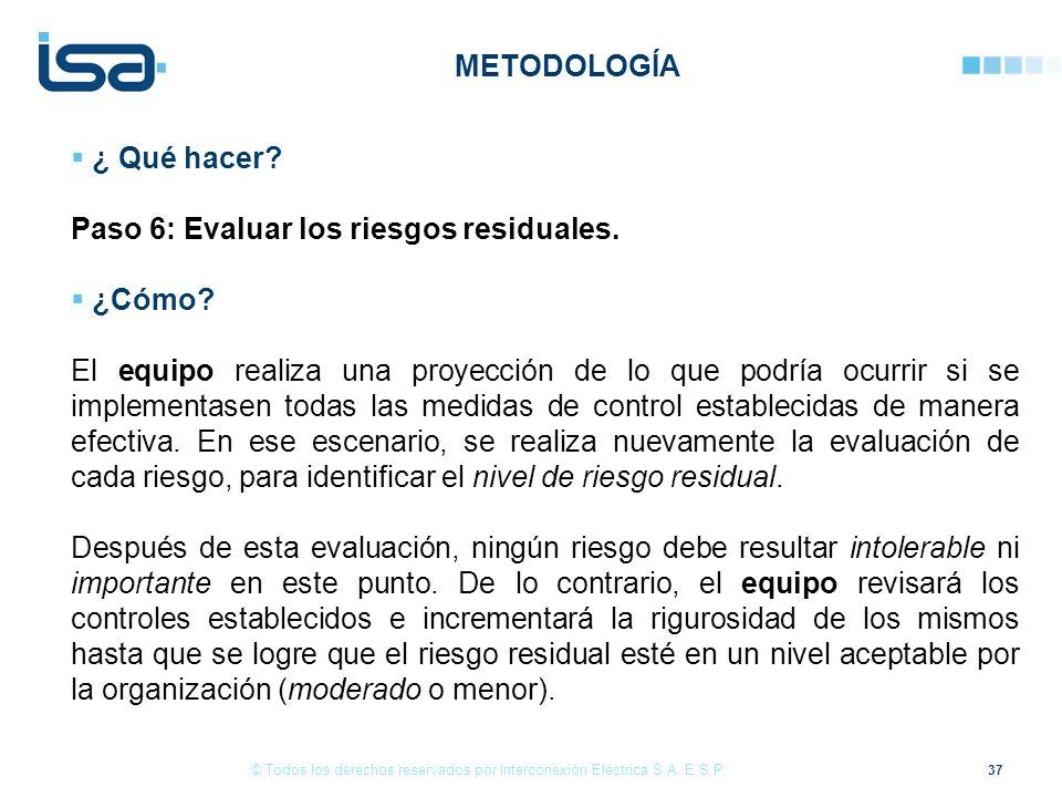 Paso 6: Evaluar los riesgos residuales. ¿Cómo