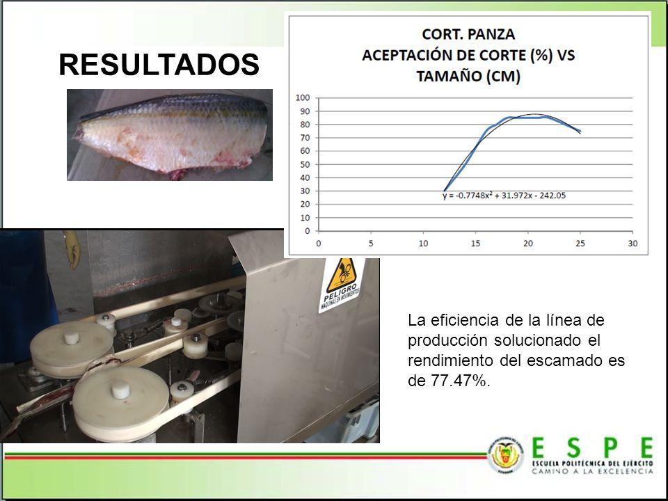 RESULTADOS La eficiencia de la línea de producción solucionado el rendimiento del escamado es de 77.47%.