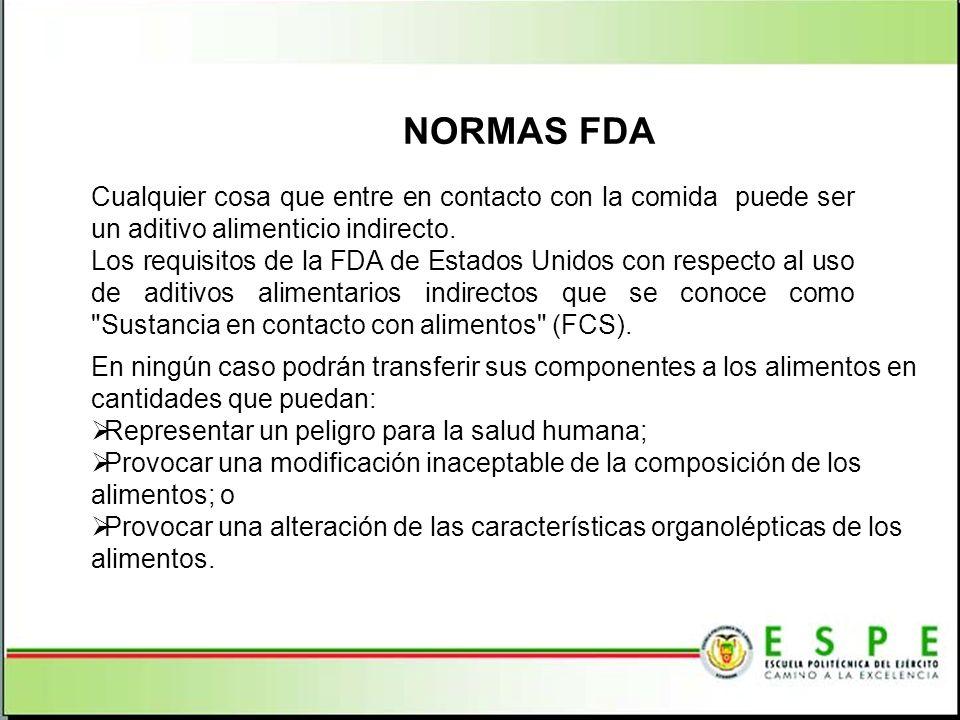 NORMAS FDA Cualquier cosa que entre en contacto con la comida puede ser un aditivo alimenticio indirecto.