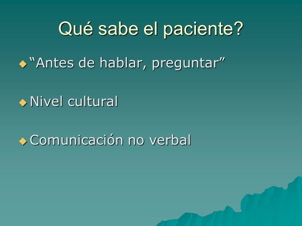 Qué sabe el paciente Antes de hablar, preguntar Nivel cultural