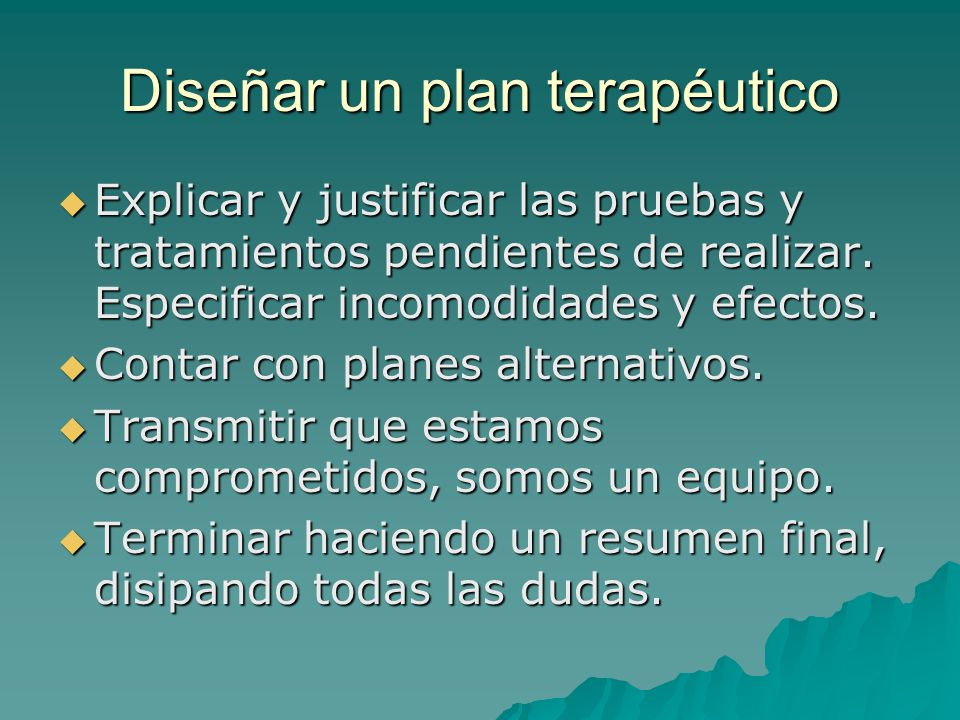 Diseñar un plan terapéutico