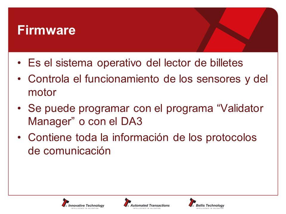 Firmware Es el sistema operativo del lector de billetes