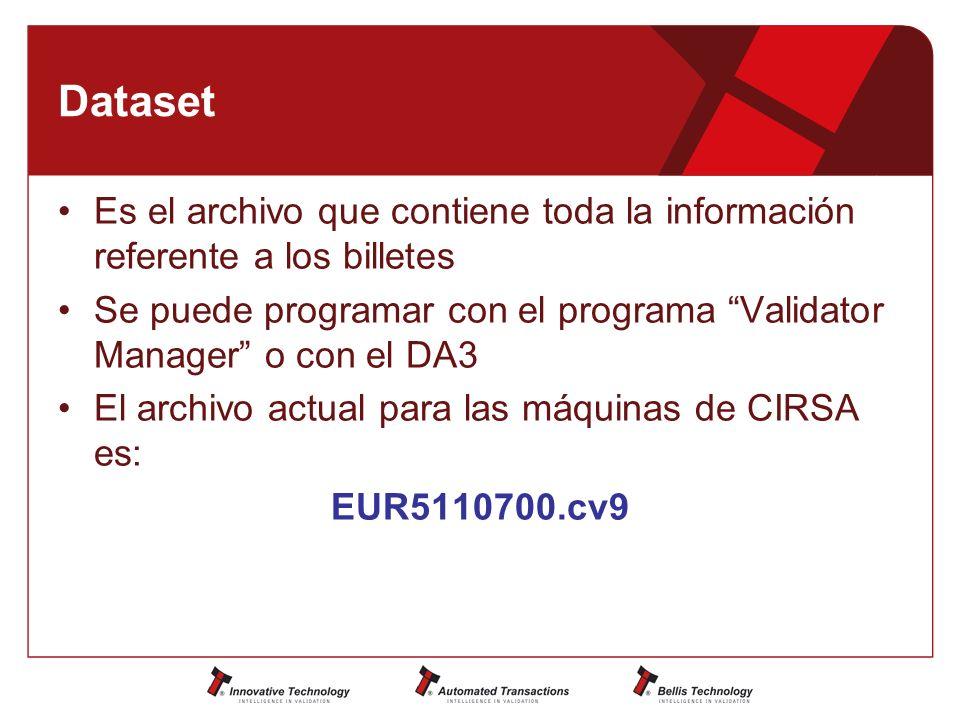 Dataset Es el archivo que contiene toda la información referente a los billetes. Se puede programar con el programa Validator Manager o con el DA3.
