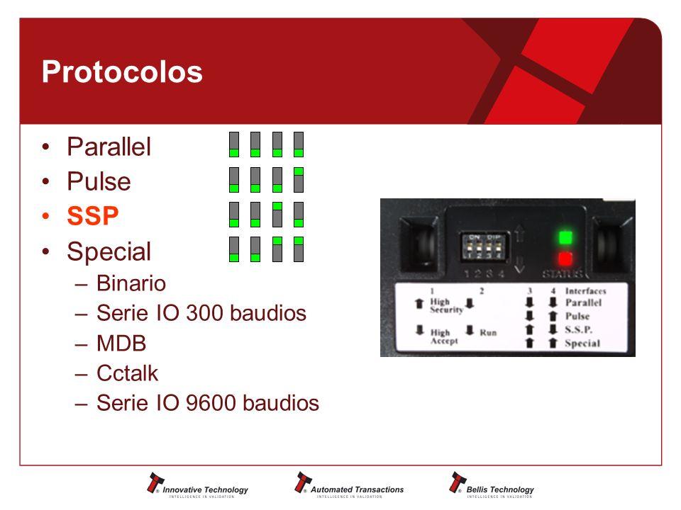 Protocolos Parallel Pulse SSP Special Binario Serie IO 300 baudios MDB