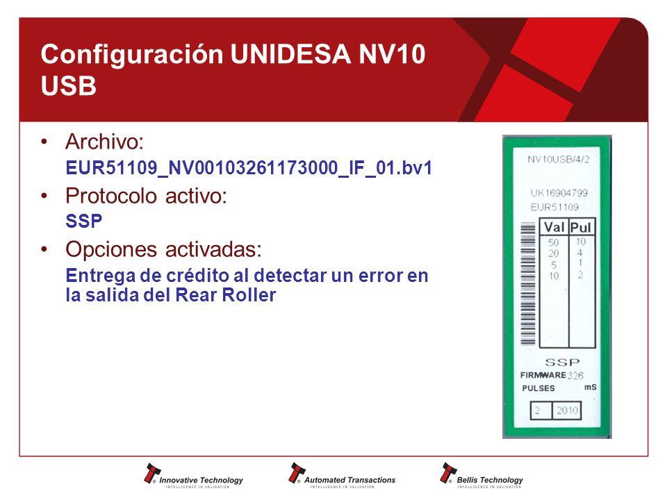 Configuración UNIDESA NV10 USB