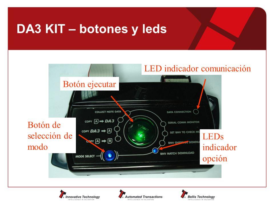 DA3 KIT – botones y leds LED indicador comunicación Botón ejecutar