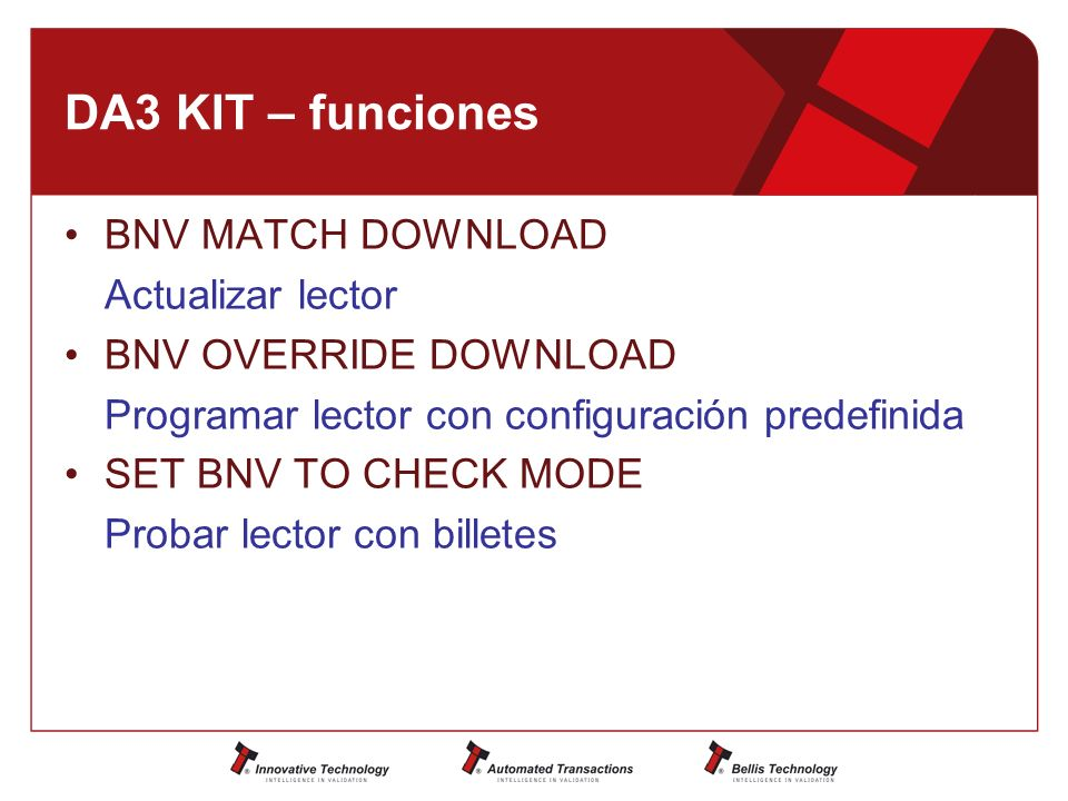 DA3 KIT – funciones BNV MATCH DOWNLOAD Actualizar lector