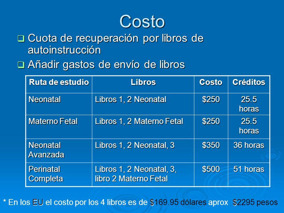 Costo Cuota de recuperación por libros de autoinstrucción