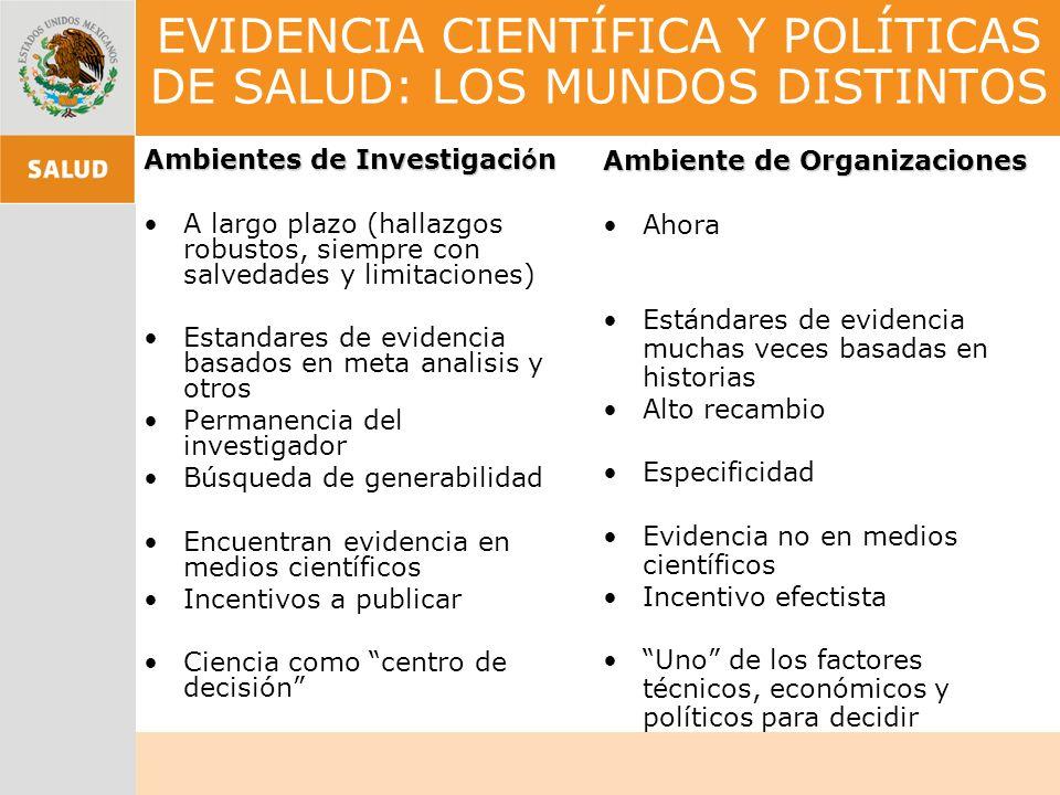 EVIDENCIA CIENTÍFICA Y POLÍTICAS DE SALUD: LOS MUNDOS DISTINTOS