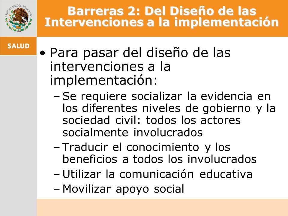 Barreras 2: Del Diseño de las Intervenciones a la implementación