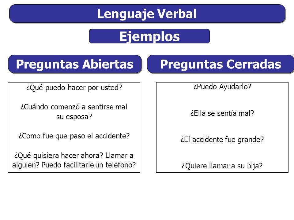 Ejemplos Lenguaje Verbal Preguntas Abiertas Preguntas Cerradas