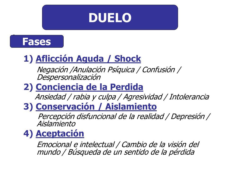 Comienzo del Duelo DUELO : Fases 1) Aflicción Aguda / Shock