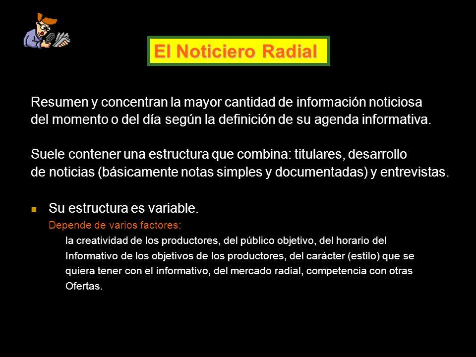 El Noticiero Radial Resumen y concentran la mayor cantidad de información noticiosa.
